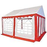 tidyard gazebo da giardino,tenda gazebo campeggio in pvc 4x4 m rosso e bianco