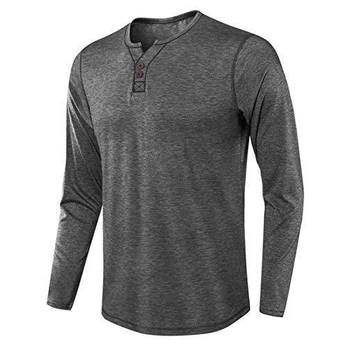 Shirt Herren Regular Fit Tops Langarm Rundhals Knopf Hemd Mode T-Shirt Basic Einfarbig Klassik Casual Leicht Breathable...
