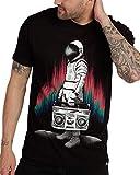 INTO THE AM AstroBlaster Men's Graphic Tee Short Sleeve Cool Novelty Design Crewneck Graphic T-Shirt for Men (Black, Medium)