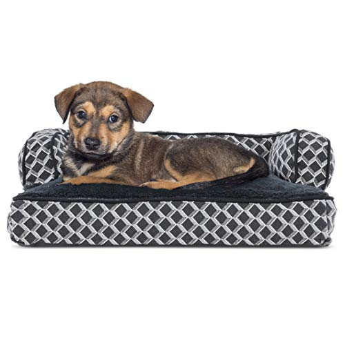 Furhaven Pet Dog Bed | Plush Faux Fur & Décor Comfy Couch Pillow Cushion Traditional Sofa-Style Living Room Couch Pet Bed w/Removable Cover for Dogs & Cats, Diamond Gray, Small