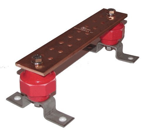 "Wall Mounted .25"" x 2"" x 10"" Copper Ground Bar Kit- 16 Terminal Placements - UL Certified - Insulators Rated up to 2,500 volts - SCGB-1KT"