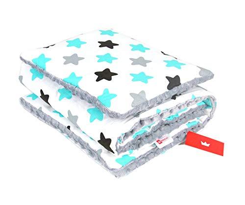 BABYLUX Babydecke Krabbeldecke MINKY Kuscheldecke Decke 75 x 100 cm mit KISSEN 30x35cm (22K. Grau + Sterne)