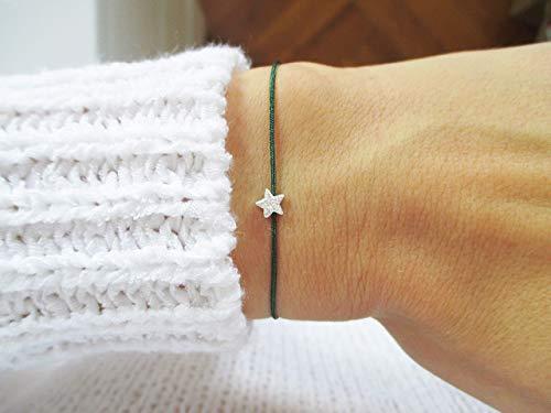 Armband mit Sternchen 925er Sterlingsilber Personalisiert | Sternenkind Sternenmama Dunkelgrün