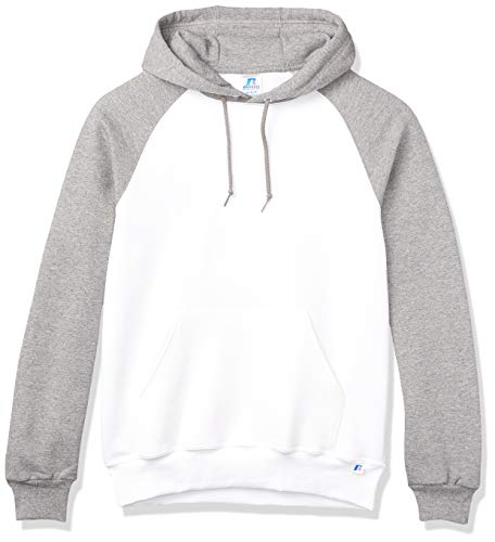 Russell Athletic Herren Men's Dri-Power Pullover Fleece Hoodie Kapuzenpullover, Kapuzenweiß/Oxford, Large
