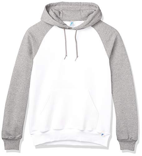 Russell Athletic Herren Dri-Power Pullover Fleece Hoodie Kapuzenpullover, Kapuzenweiß/Oxford, Klein