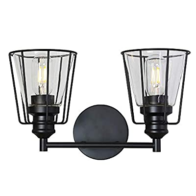 VINLUZ 4-Light Metal Cage Bathroom Vanity Light Industrial Wall Lighting with Clear Glass Shade Vintage Rustic Sconce Wall Light Fixtures for Dining Room Living Room Kitchen Hallway