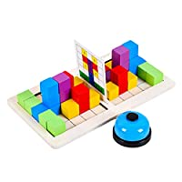 LuDa ウッドダブルバトルブロックビルディングブロック思考パズル頭の体操