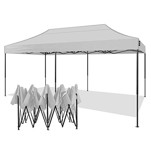 AMERICAN PHOENIX 10x20 Canopy Tent Pop Up Portable Instant Commercial Heavy Duty Outdoor Market Shelter (10'x20' (Black Frame), White-1)
