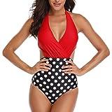 Mujer V-Cuello Trajes de baño Halter Una Pieza Push-up Acolchado Bra una Pieza Rojo Punto M (EU 36-38)
