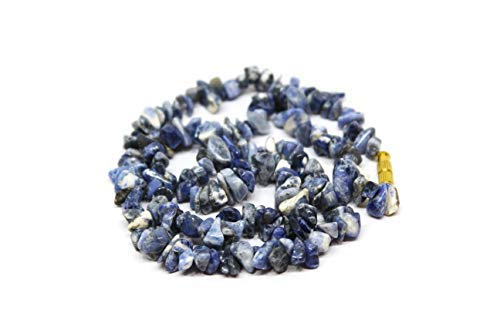 Blue Stone Uncut Bead Sodalite 6mm Chips Necklace for Unisex (TTC_Necklace 19)