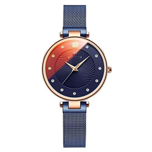 JCCOZ-URG De Lujo Ultra-Delgada for Mujer de los Relojes de Manera de Cristal de Cuarzo de Color del Reloj análogo Ocasional de Las Mujeres a Prueba de Agua Reloj de Pulsera URG (Color : Blue)