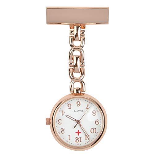 Taschenuhr Damen Analog Uhr Medizinische Anstecknadel Clip-on Revers Pin Klammer on Brosche hängen Täglich wasserdichte Quarz Krankenschwester Uhr Ideal für Sanitäter