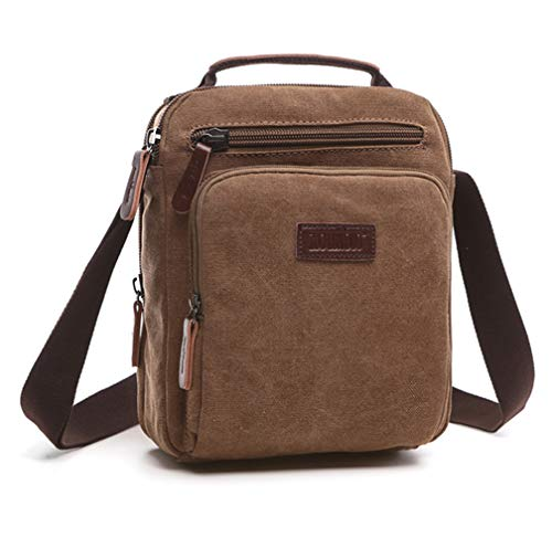 Shoulder Bag Mens Lightweight Messenger Bag AIZBO Retro Cross Body Bag Small Satchel Bag with Long Strap, Unisex Multi Purpose Canvas Man Bag Brown