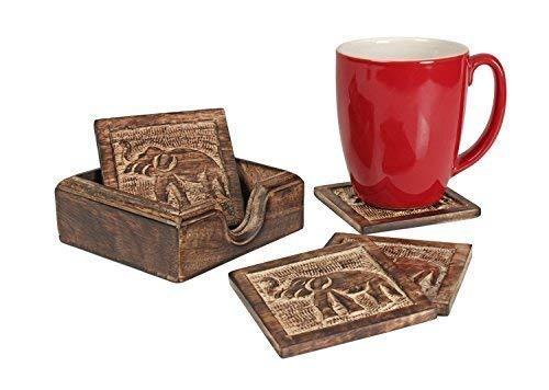 Ajuny Posavasos de madera con diseño de elefante cuadrado con incrustaciones botánicas para tazas de café, tazas de té, cerveza, cristal, regalos de inauguración de la casa, ideas