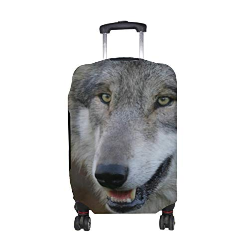 Wolf Grass Flowers Face Predator Hunting Sight Pattern Print Travel Luggage Protector Baggage Suitcase Cover Fits 18-21 Inch Luggage