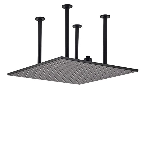 """Rozin Ceiling Mounted Square 20"""" Rainfall Shower Head Two-inlet Overhead Spray Black Color"""