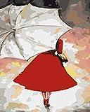 Pintar con numeros Adultos Paraguas Vestido Rojo Mujer kit de pintura para adultos con 3 Pinceles y Pinturas Acrílica Cuadro pintar con numeros en Lienzo,Decoraciones Kit para el Hogar 40x50cm