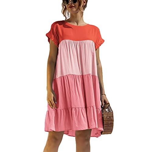 Moda De Primavera Y Verano Y Vestido Suelto De Contraste De Color Informal Simple Refrescante A Juego