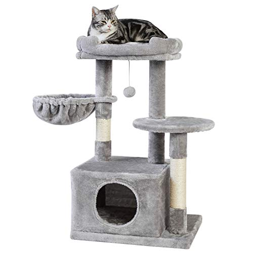 SUPERJARE Cat Tree with Plush Condos amp Dangling Balls Kitten Tower Center with Plush Perch amp Basket Lounger Pet Play Condo Furniture  Gray