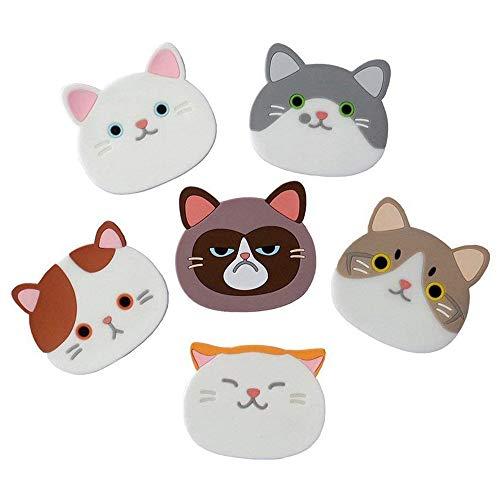 Kaxich 6er Set Katze Untersetzer Silikon Gummi Cup Becher Matten für Wein, Glas, Tee, Haus, Küche Dekor Geschenkidee
