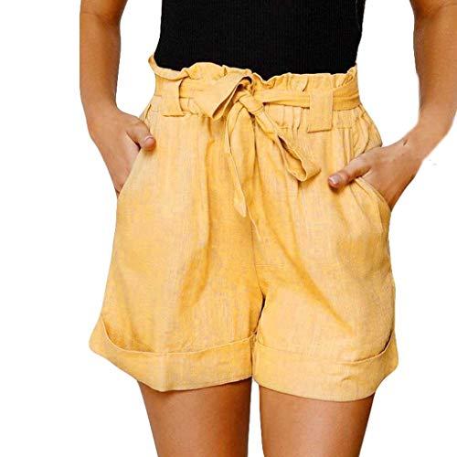 Andouy Damen Elastischem Taillenband Schleife Shorts mit Paperbag Hoch Taille Sommer Lounge Shorts(M.Gelb)
