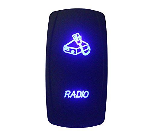 BANDC 12V/24V Radio Rocker Interruptor grabados con láser LED azul 5pines SPST ON-OFF para coche de grado marino barco Rv resistente al agua IP66