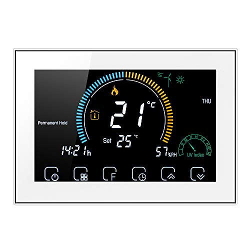 Decdeal - Termostato wifi para Calefacción por Agua Caliente, Programable, Aplicación con Control de Voz, LCD Retroiluminada, Visualización de Humedad y UV, Compatible con Alexa y Google Home