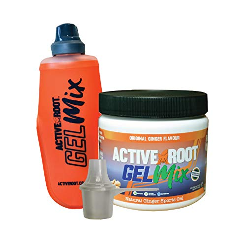 Active Root Bundle Energy Gel Mix and Soft Flask, Original Ginger Flavour Natural Energy Gel, Vegan and Eco-Friendly