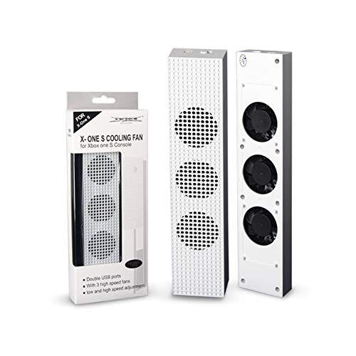 #N/V Ventilador de refrigeración para Xbox One S con 2 puertos USB Hub y 3 ventiladores de enfriamiento de ajuste de velocidad H/L para consola Xbox One Slim Gaming