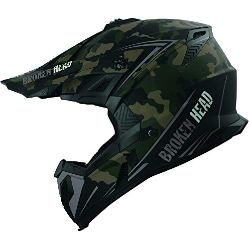 Broken Head Squadron Rebelution Camouflage Sand-Titan Cross-Helm - MX Motocross Helm - Quad-Helm - Sumo-Helm (M (57-58 cm))