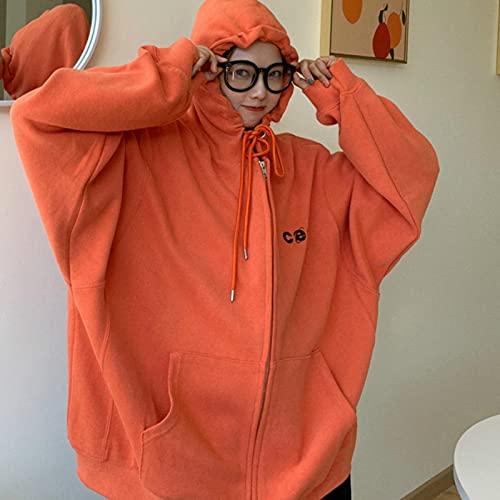Chaquetas básicas Moda Moda Ulzzang Letra Bordado Sudaderas Sudaderas Sudaderas Chic Femme Abrigo Cremallera Vintage Flojo Harajuku Tops 5 Colores