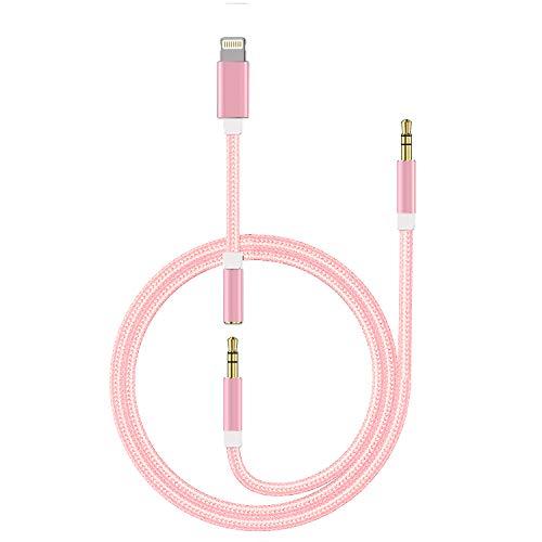 Auto AUX Kabel für iPhone 8, Qingfei Aux Kabel auf 3,5mm Premium-Audio für iPad, iPod,iPhone XS/XS Max/XR/X/8/8+/7/7+,Home/Auto-Stereoanlagen,Kopfhörer