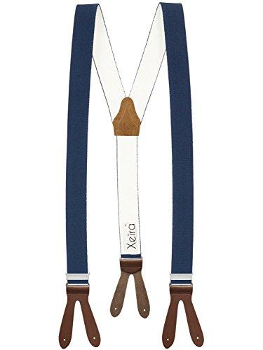 Xeira Hosenträger Dunkelblau mit Braunen Lederriemen zum Knöpfen für Herren und Damen Normale Länge 110