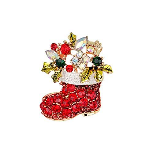 AOXING - Broche de Navidad con diseño de dibujos animados, color rojo, accesorios exquisitos fáciles de combinar con bufandas, sombreros, bolsas o ropa cotidiana.