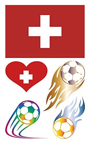 Fan Del Fubol Protección Del Medio Ambiente Pegatina Europeo Fútbol Naciones'Cup Sorpresa Inesperado Regalo Impermeable Conmemorar/Suiza / 120×75mm