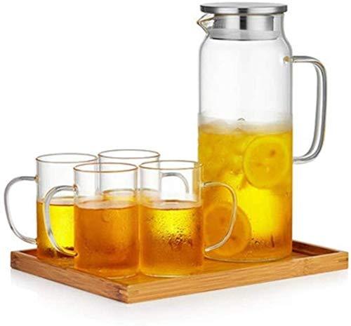 Tetera Tetera Jarra de Vidrio con Tapa Tetera de Helado Resistente al Calor Muy Adecuada para Leche y Jugo de café Botellas de té y Bebidas de té (tamaño: 21,8 y Veces; 10 cm)