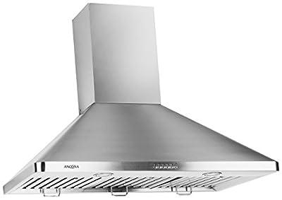 "Ancona AN-1148 Chef Series 600 CFM Wall Mounted 36"" Pyramid Range Hood, Silver"