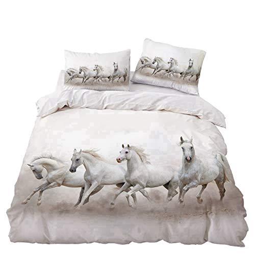 Bate - Funda de edredón para cama individual, doble, diseño de caballo animal, 3D, microfibra suave, para niños, 140 x 210 cm