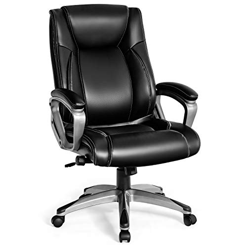 Giantex Ergonomic Office Chair, Big and Tall Leather Chair, High Back Executive Computer Desk Chair w/Adjustable Lumbar Support, Padded Armrest Thicker Seat Cushion Computer Task Chair (Black)