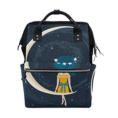 Space with Girl Sac à dos à langer pour maman Grand sac à dos unisexe Sac à langer Sac à dos de voyage Sac à dos d'école pour ordinateur portable