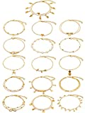Hicarer 16 Pieces Ankle Bracelets Wrist Chains Adjustable Anklet Chains Foot Hand Jewelry for Women Girl (Gold)