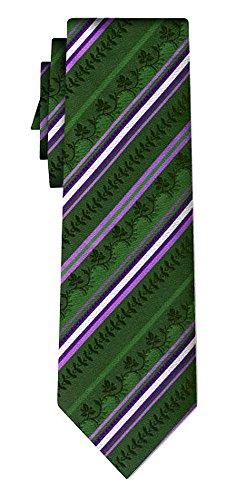 Generisch Seidenkrawatte folklore stripe lilac on green