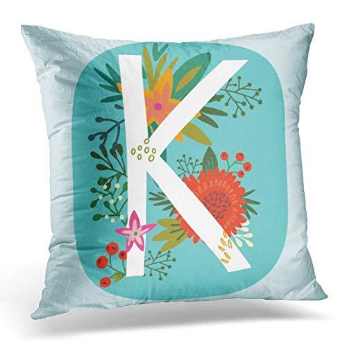 Funda de Almohada Decorativa Monograma Floral con Letras de Flores increíbles Vintage K Flyers Webs Gráficos Blogs y más Funda de Almohada para decoración del hogar Funda de al