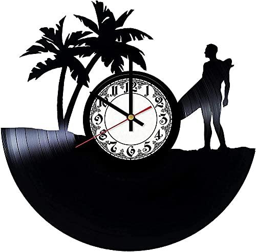 GVSPMOND Reloj de Pared con Disco de Vinilo, Surf, Amor, Deportes, Reloj de Pared Retro, Arte de Pared, diseño Moderno en 3D, Sala de Oficina, decoración del hogar, Regalo