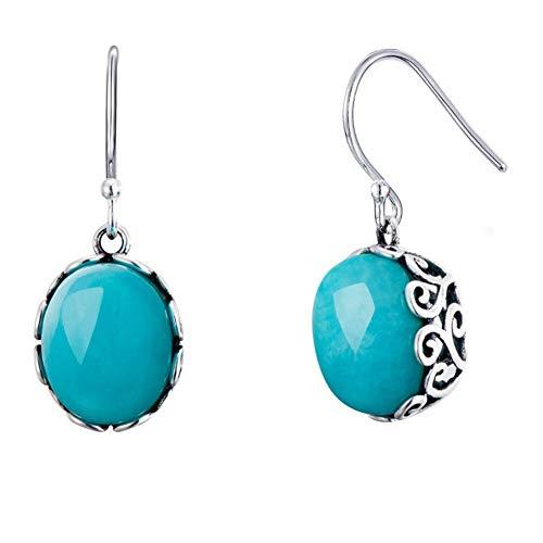 Miyuan Damen-Ohrringe, 925er Sterlingsilber, blauer Amazonit, hängend, handgefertigt, chinesischer Stil