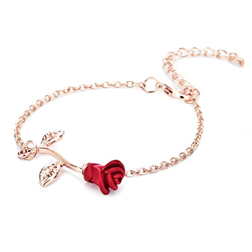 WLLAY Rose Flower Anklets Bracelets for Women Beach Anklets Foot Chain for Holiday Jewelry (red Rose Gold)