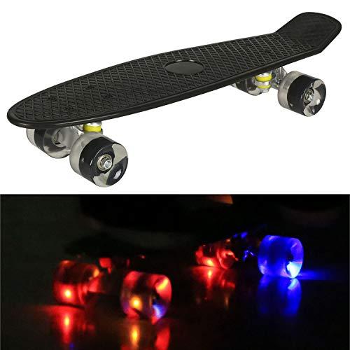 55cm/22 Mini Cruiser Board Retro Skateboard Komplettboard mit Leuchtrollen für Jugendliche Kinder und Erwachsene (Schwarz Deck - Schwarz Rollen)