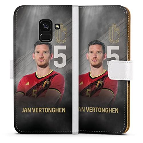 DeinDesign Klapphülle kompatibel mit Samsung Galaxy A8 Duos 2018 Handyhülle aus Leder weiß Flip Hülle Fußball Belgien Offizielles Lizenzprodukt