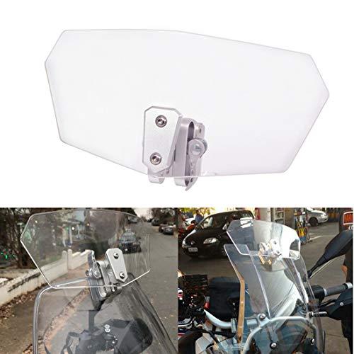 オートバイ汎用 気流調整可能なボルトオン 可変ウインドスクリーン スポイラー 1年間保証付き (透明) (透明)