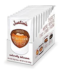 Justin's is made using a secret grinding process to deliver a texture and flavor experience like no other 2-3 grams of protein 4g Protein, 2g Fiber, 0g Trans Fat, 8g Sugar 0 grams trans fat The best tasting hazelnut butter on the planet